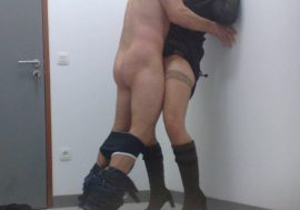 Passionate kissing and fucking against wall