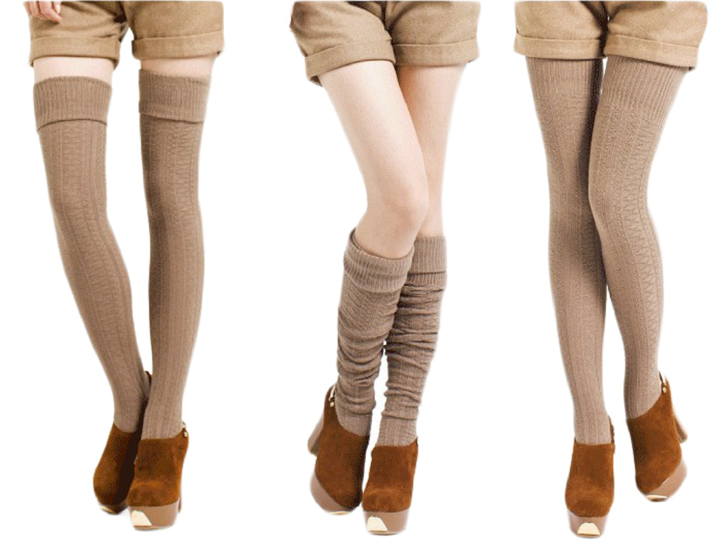 As they on the different pairs of thigh high