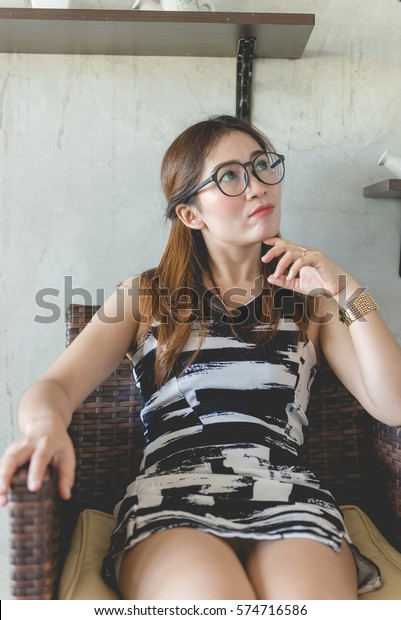 Hot asian girl with glasses