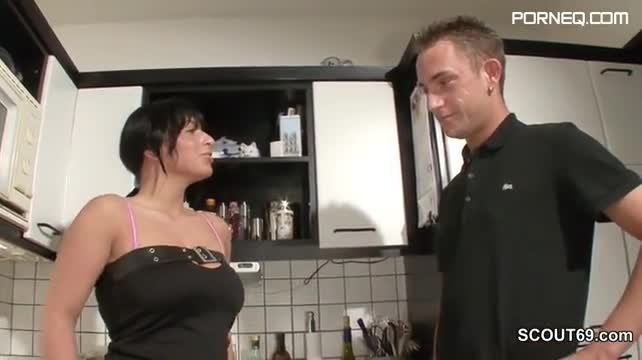 German step son seduce hot milf mother to fuck in kitchen