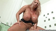 Soccer mom with big boobs fucks herself with two dildos tube porn photo 4