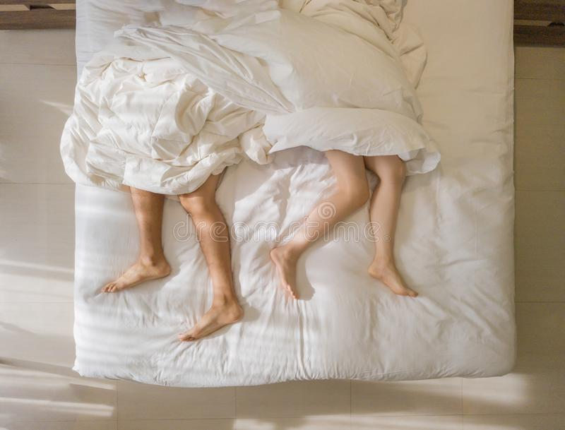 Stock photo daring dreams top view of gorgeous young naked woman covered white sheet sleeping while lying photo 2