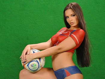 World cup pussy body paint soccer girls hot photo 1